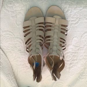 healed leather sandals